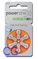 Blister mit 6  Hörgerätebatterien VARTA Powerone Typ 13 (PR48) Mercury free